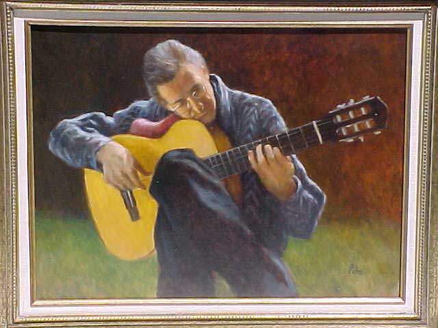 Painting Of Chris Carnes With His Guitar By Olaf Palm
