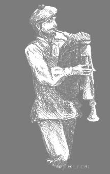Melissa Fischbach's drawing of Bob Thomas playing one of his bagpipes