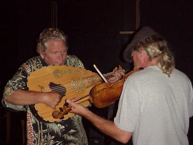 Ernie Fischbach on oud and Brian Steeger on violin backstage at BalAnat performance.