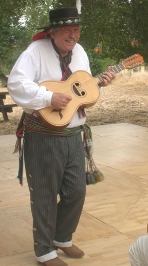 Los Californios,Ernie with antique Portuguese/Californio guitar